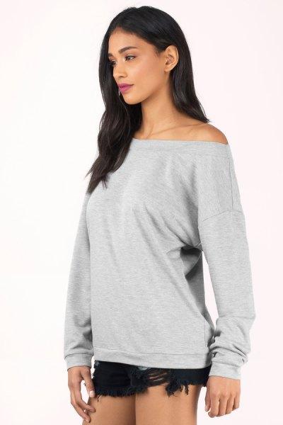 big gray sweater black mini denim shorts