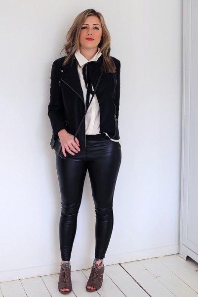 white tie neck blouse black casual blazer leather leggings