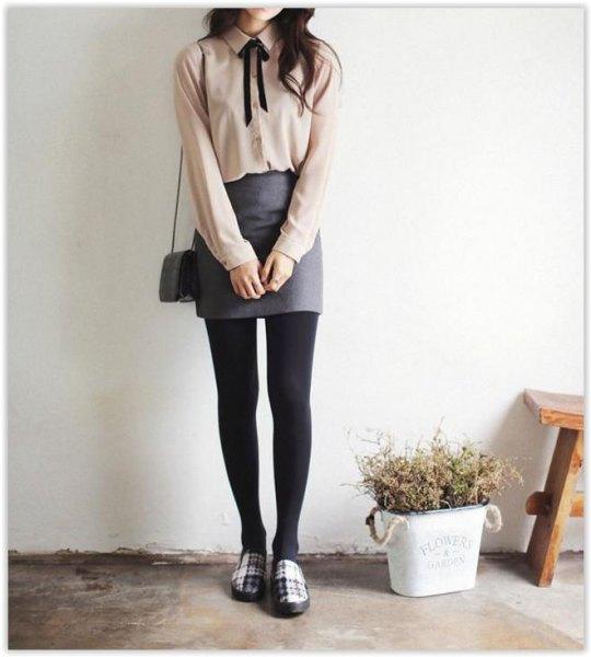 blush pink pink neck blouse gray wool mini dress