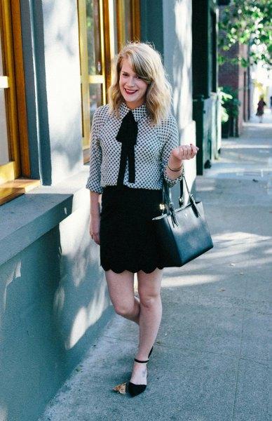 black and white checkered shirt combed mini mini skirt