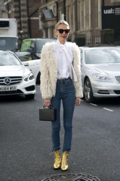 white faux fur skinny skinny jeans