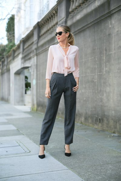 white chiffon blouse gray wide benchinos