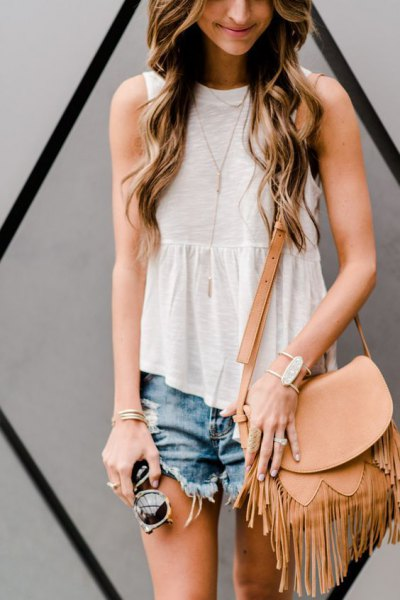 vita peplum ruffle top denim shorts