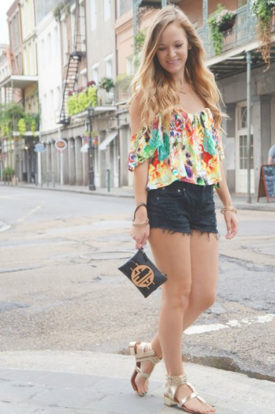 flowers of shoulder blouse black mini shorts