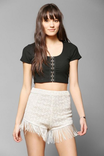 white crochet france shorts black short sleeve top
