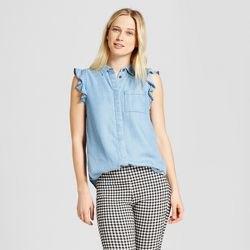 chambray sleeveless ruffled shirt black and white plaid leather pants