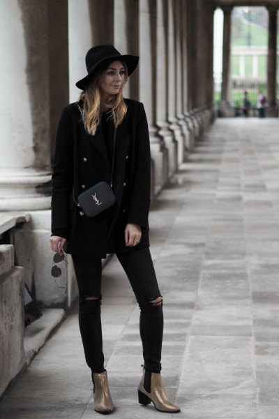 all black antique shoes with black outfit
