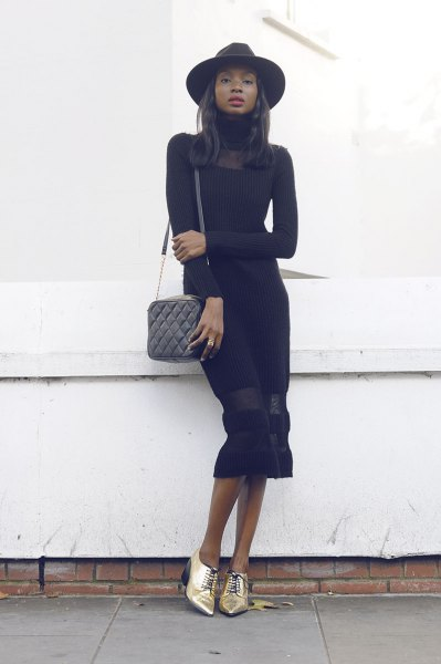 black long sleeve midi dress gold card
