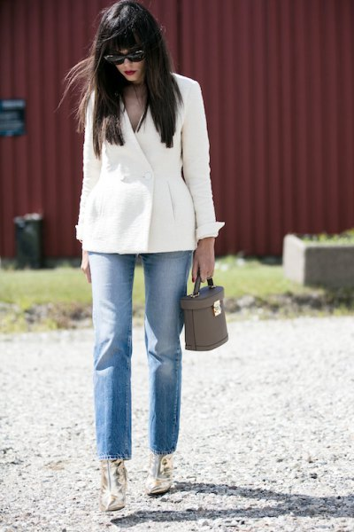 white blazer mom jeans gold boots