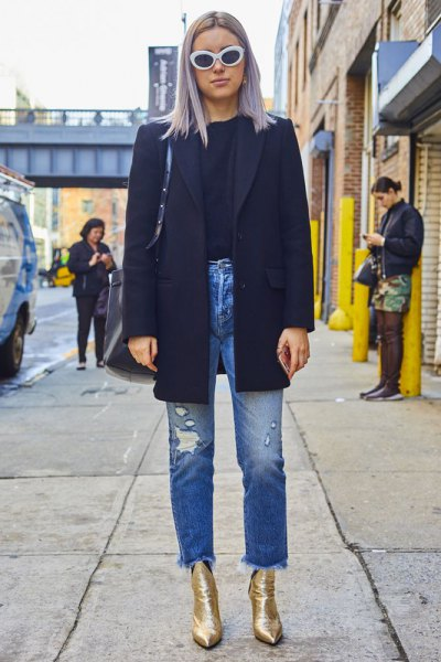 black wool coat mom jeans
