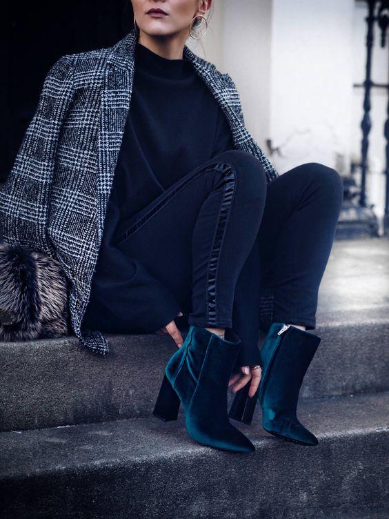 tweed blazer plaid velvet boots
