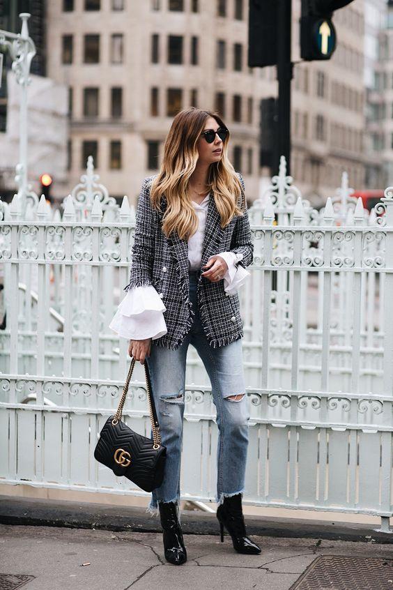 tweed blazer checkered watch sleeves