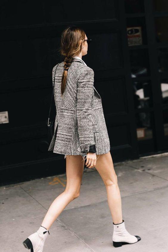 tweed blazer plaid sparkly boots
