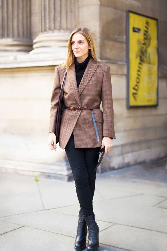 tweed blazer checkered leggings