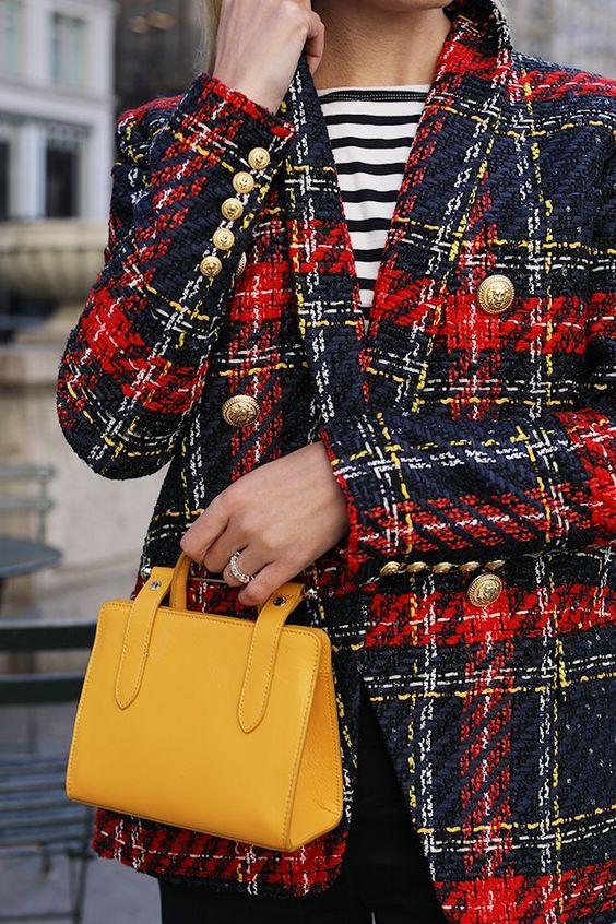 tweed blazer checkered red