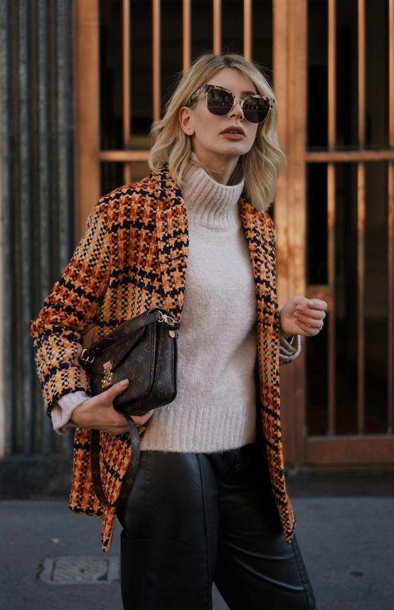 tweed blazer checkered orange