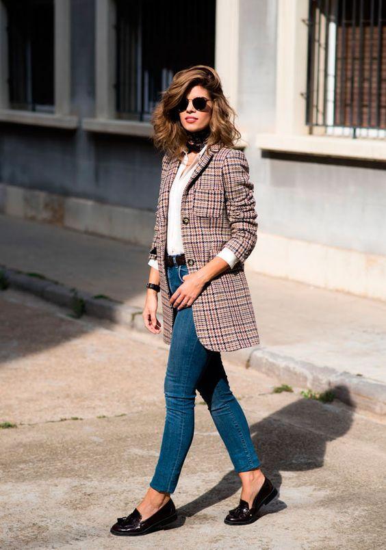tweed blazer plaid skinny jeans