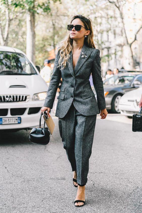tweed blazer gray pants