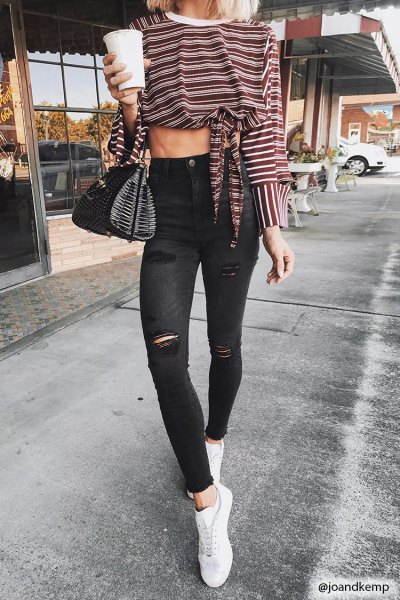 knotted striped long sleeve tee black ripped skinny ankle