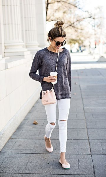 gray sweater white ankle jeans