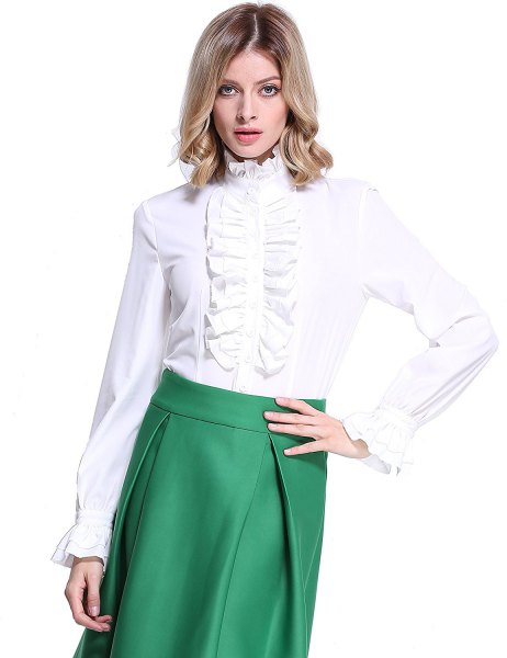 white lotus ruffle blouse olive green midi skirt with high waist