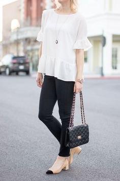 white blouse black skinny jeans pink heels