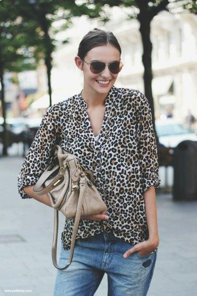 oversized leopard print blouse boyfriend jeans