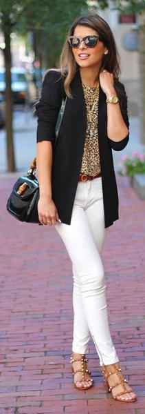 black blazer white skinny jeans