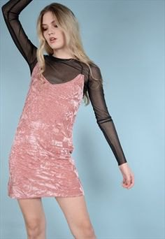 pink velvet dress dress over black mesh top