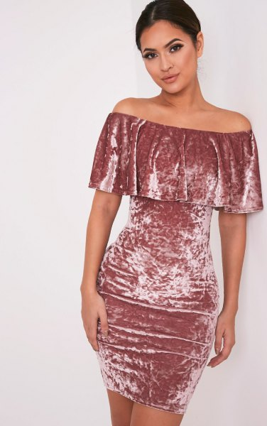 pleated shoulder bodycon pink velvet dress