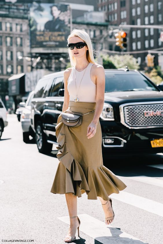 asymmetrical skirt street style belt bag