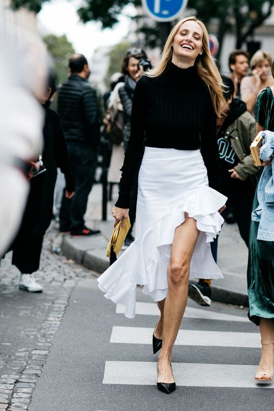 asymmetrical skirt street style black and white