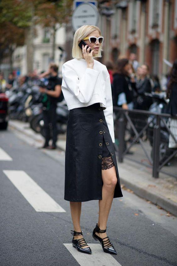 asymmetrical skirt street style lace