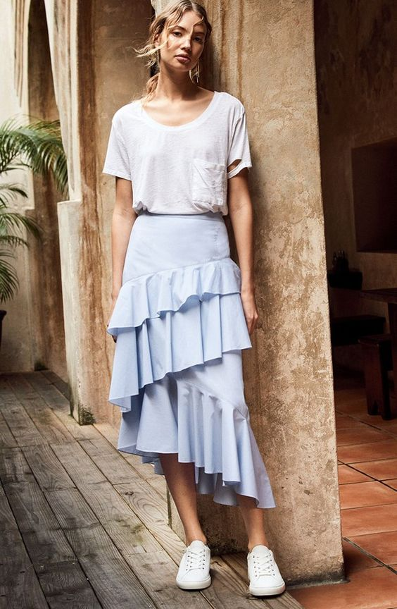 asymmetrical skirt casual pastel
