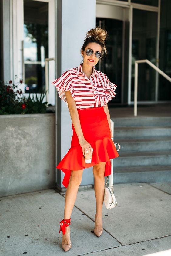 asymmetrical skirt casual red