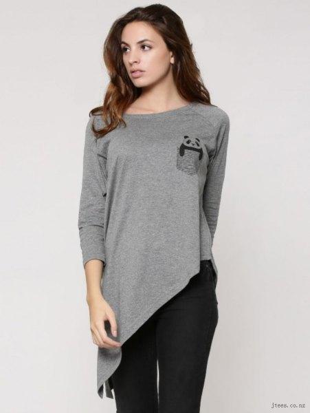 gray long sleeve high low t-shirt black skinny jeans