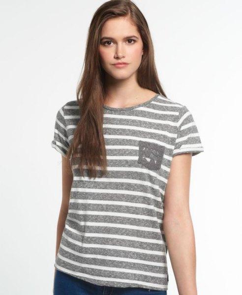 white and gray horizontal striped pocket