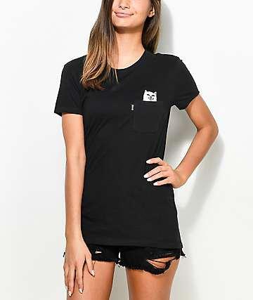 black t-shirt distressed denim shorts