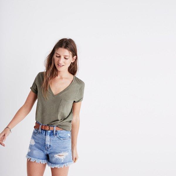 green v-neck front pocket t-shirt blue denim shorts