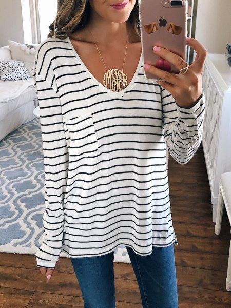 white and black striped long-sleeved v-neck tee