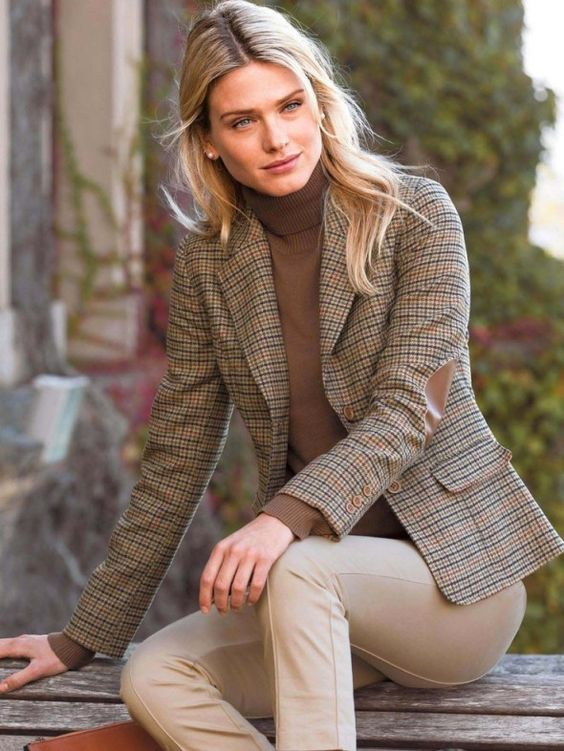 blazer with elbow patches neutral tones