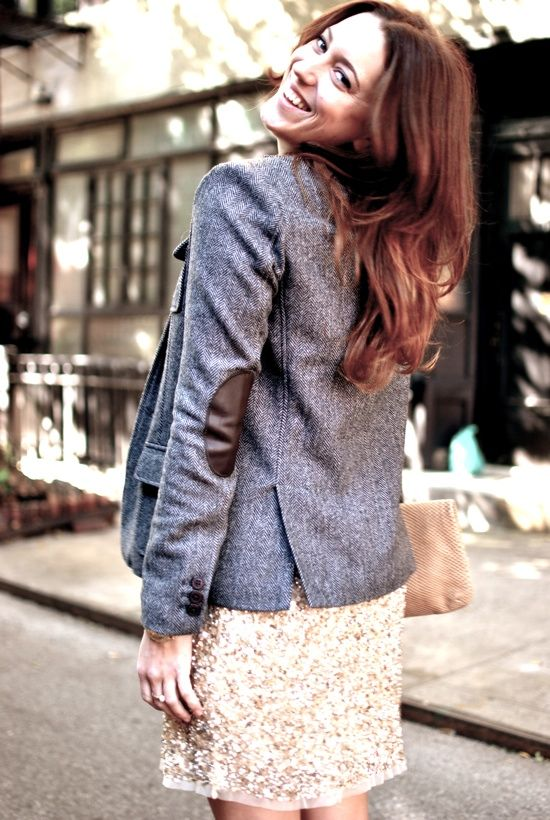 blazer with elbow patches sequin skirt