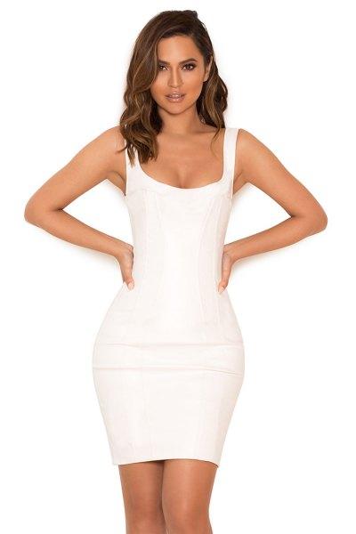 white leather tank bodycon mini dress