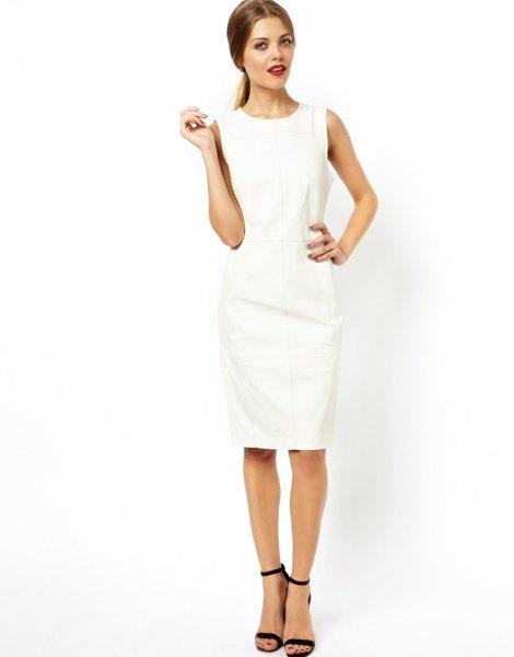 white leather midi shift dress