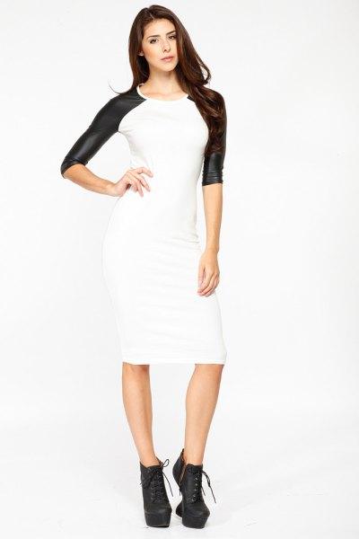 white midi bodycon leather dress black sleeves