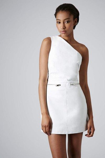 white one shoulder mini mantle dress