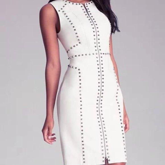 sleeveless bodycon with white white leather dress