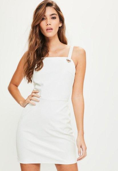 white square leather mini dress