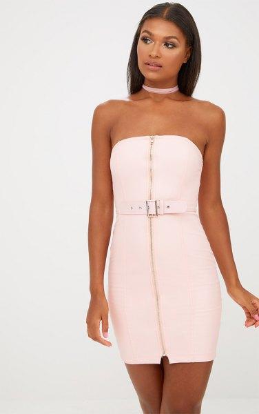 white zipper front dress light pink choker