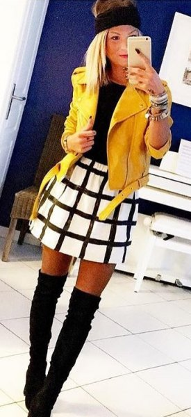 yellow leather jacket white and black checkered skate skirt